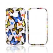 Samsung Galaxy Indulge R910 Hard Case - Colorful Butterflies on Silver