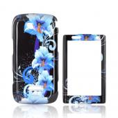 Samsung Sidekick 4G Hard Case - Blue Flowers on Black