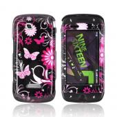 Samsung Sidekick 4G Hard Case - Pink Flowers &amp; Butterflies on Black