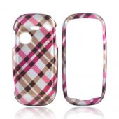 Samsung T369 Hard Case - Checkered Design of Pink, Hot Pink, Brown, Gray