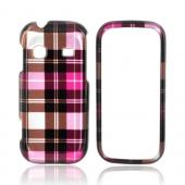 Samsung Gravity TXT T379 Hard Case - Plaid Pattern of Pink, Hot Pink, Brown, & Gray