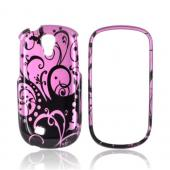 Samsung Gravity Smart Hard Case - Black Swirls Design on Purple
