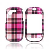 Luxmo Samsung Gravity T Hard Case - Plaid Pattern of Hot Pink, Brown, Pink