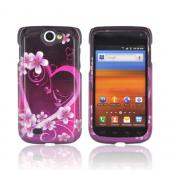 Samsung Exhibit 2 4G Hard Case - Hot Pink/ Purple Flowers & Hearts