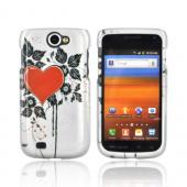 Samsung Exhibit 2 4G Hard Case - Red Heart & Leaves on Silver