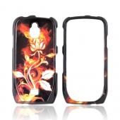 Samsung Exhibit T759 Hard Case - Flaming Rose on Black