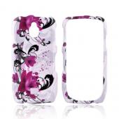 Samsung Exhibit T759 Hard Case - Pink Flowers on White