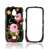 Samsung Exhibit T759 Hard Case - Pink Peony Flowers on Black