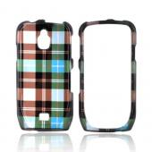 Samsung Exhibit T759 Hard Case - Plaid Pattern of Blue/ Brown/ Silver
