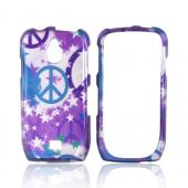 Samsung Exhibit T759 Hard Case - Stars & Peace Signs on Silver/ Blue/ Purple