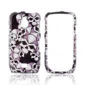 Samsung Exhibit T759 Hard Case - Silver Skulls on Black