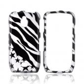 Samsung Exhibit T759 Hard Case - Silver/ Black Zebra & Stars