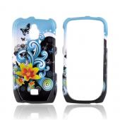 Samsung Exhibit T759 Hard Case - Yellow Lilly & Swirls on Turquoise/Black