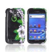 T-Mobile Samsung Galaxy S2 Hard Case - White/ Green Flowers on Black