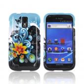 T-Mobile Samsung Galaxy S2 Hard Case - Yellow Lily &amp; Swirls on Turquoise/ Black