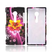 Sony Xperia Ion T28i Hard Case - Yellow & Red Dream Flowers on Hot Pink