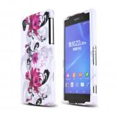 Magenta Flowers On White Sony Xperia Z2 Plastic Hard Case Cover, Great Basic Protection!