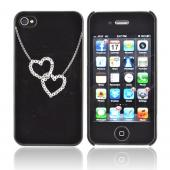 Premium AT&amp;T/ Verizon Apple iPhone 4, iPhone 4S Hard Case w/ Bling - Black/ Silver Double Heart Necklace