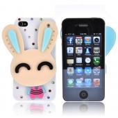 AT&T/ Verizon Apple iPhone 4, iPhone 4S Hard Case w/ Bling & Rotating Mirror - Beige/ Sky Blue Rabbit