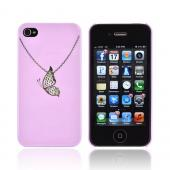 Premium AT&amp;T/ Verizon Apple iPhone 4, iPhone 4S Hard Case w/ Bling - Purple/ Silver Butterfly Necklace