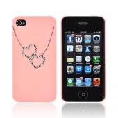 Premium AT&amp;T/ Verizon Apple iPhone 4, iPhone 4S Hard Case w/ Bling - Pink/ Silver Double Heart Necklace