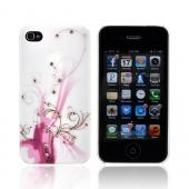Premium AT&T/ Verizon Apple iPhone 4, iPhone 4S Rubberized Hard Case w/ Bling - Pink/ Magenta Vines on White w/ Clear Gems