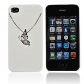 Premium AT&amp;T/ Verizon Apple iPhone 4, iPhone 4S Hard Case w/ Bling - White/ Silver Butterfly Necklace