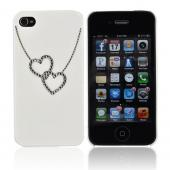 Premium AT&amp;T/ Verizon Apple iPhone 4, iPhone 4S Hard Case w/ Bling - White/ Silver Double Heart Necklace