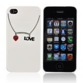 Premium AT&amp;T/ Verizon Apple iPhone 4, iPhone 4S Hard Case w/ Bling - White/ Silver/ Red Love Necklace