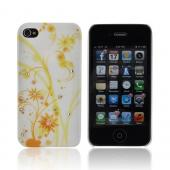 Premium AT&amp;T/ Verizon Apple iPhone 4, iPhone 4S Rubberized Hard Case w/ Bling - Yellow Dandelions on White w/ Clear Gems