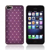 Apple iPhone 5 Hard Case w/ Bling & Faux Chrome - Silver Gems on Purple