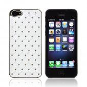 Apple iPhone 5 Hard Case w/ Bling &amp; Faux Chrome - Silver Gems on White