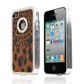 AT&amp;T/ Verizon Apple iPhone 4 Faux Fur Hard Case w/ Bling - Brown/ Black Leopard