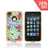 AT&amp;T/ Verizon Apple iPhone 4, iPhone 4S Hard Case w/ Bling - Blue &amp; Green w/ Pink Roses