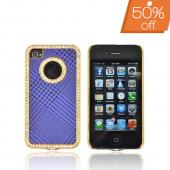 AT&T/ Verizon Apple iPhone 4, iPhone 4S Hard Case w/ Bling - Black Houndstooth on Purple