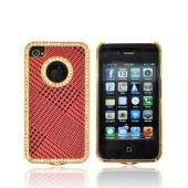 AT&amp;T/ Verizon Apple iPhone 4, iPhone 4S Hard Case w/ Bling - Black Houndstooth on Red