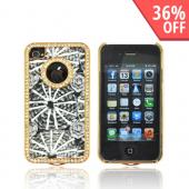 AT&amp;T/ Verizon Apple iPhone 4, iPhone 4S Hard Case w/ Bling - Black &amp; White w/ Gray Roses