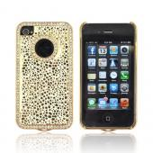 AT&amp;T/ Verizon Apple iPhone 4, iPhone 4S Hard Case w/ Bling - Gold Droplets on White