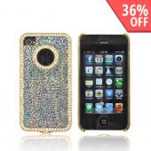 AT&amp;T/ Verizon Apple iPhone 4, iPhone 4S Hard Case w/ Bling - Rainbow Droplets on Black
