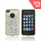 AT&amp;T/ Verizon Apple iPhone 4, iPhone 4S Hard Case w/ Bling - Silver Droplets on White