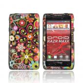 Motorola Droid RAZR MAXX Hard Case w/ Bling - Pink/ Orange Retro Flowers on Black