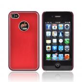 AT&amp;T/ Verizon Apple iPhone 4, iPhone 4S Hard Back Case w/ Aluminum - Red