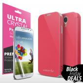 Pink Exclusive CellTo Flip Cover Case w/ ID Slot, Satin Cover & Free Screen Protector for Samsung Galaxy S4