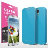 Sky Blue Exclusive CellTo Flip Cover Case w/ ID Slot, Satin Cover & Free Screen Protector for Samsung Galaxy S4