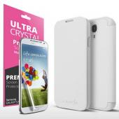 White Exclusive CellTo Flip Cover Case w/ ID Slot, Satin Cover & Free Screen Protector for Samsung Galaxy S4