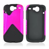 HTC Nexus One Hard Case and Silicone Case, Rubber Skin - Rose Pink on Black