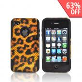 AT&amp;T/ Verizon Apple iPhone 4, iPhone 4S Hard Case Over Silicone - Black/ Gold Leopard Mesh