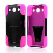 Black Hard Cover w/ Kickstand on Hot Pink Silicone Case for LG Optimus G Pro