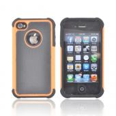 AT&T/ Verizon Apple iPhone 4, iPhone 4S Textured Hybrid Hard Cover Over Silicone Case - Black/ Orange
