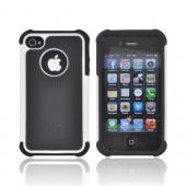 AT&amp;T/ Verizon Apple iPhone 4, iPhone 4S Textured Hybrid Hard Cover Over Silicone Case - Black/ White